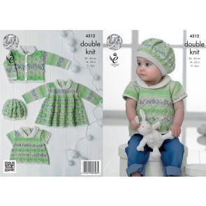 Top, Dress, Cardigan and Beret in King Cole Drifter for Baby DK and Cottonsoft DK (4312)