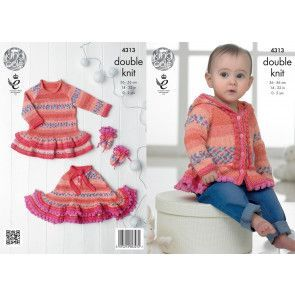 Dress, Hoodie, Poncho and Mittens in King Cole Drifter for Baby DK and Cottonsoft DK (4313)