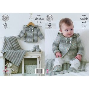 Hooded Jacket, Blanket and Bootees in King Cole Drifter for Baby DK (4487)