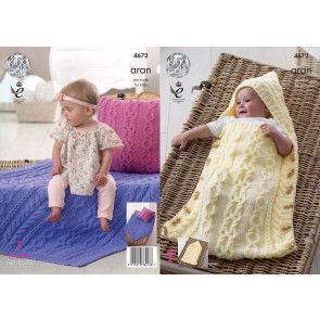 Sleeping Bag, Cushion and Blanket in King Cole Comfort Aran (4672)