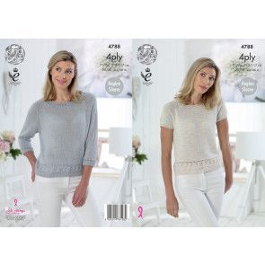 Tops in King Cole Giza Cotton Sorbet 4 Ply and Giza Cotton 4 Ply (4788)