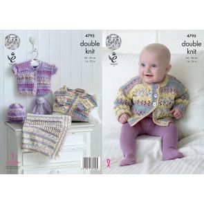 Baby Cardigans, Hat and Blanket in King Cole Drifter for Baby DK (4795)