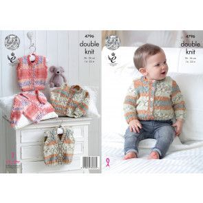 Cardigans and Waistcoat in King Cole Drifter for Baby DK (4796)