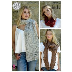 Scarf, Shawl and Snood in King Cole Indulge Chunky (4863)
