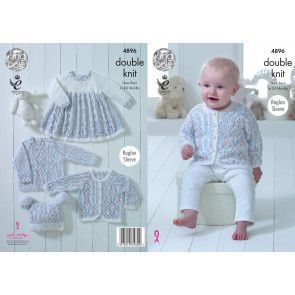 Jacket, Bonnet, Mittens, Bootees and Blanket in King Cole Comfort Baby DK (4896)