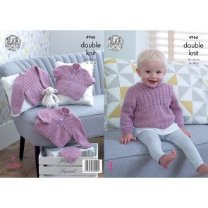 Cardigans, Sweater and Hat in King Cole Comfort Baby DK (4966)