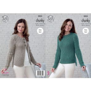 Sweater and Cardigan in King Cole Magnum Chunky (5033)