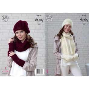 Beanie, Scarf, Mittens, Snood, Slouchy Hat and Wrist Warmers in King Cole Magnum Chunky (5035)