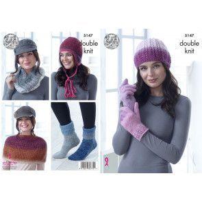 Hat, Cowl, Gloves, Shoulder Cover, Socks and Helmet in King Cole Curiosity DK (5147)