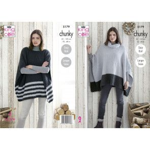 Ladies Ponchos in King Cole Timeless Chunky (5179)