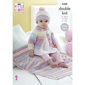 Cardigan, Hat and Blanket in King Cole Beaches DK (5420)