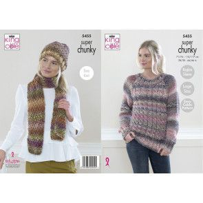 Sweater , Hat and Scarf in  King Cole Explorer Super Chunky (5455)
