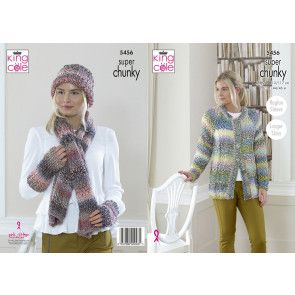 Cardigan, Scarf, Hat and Wrist Warmers in King Cole Explorer Super Chunky (5456)