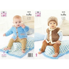 Blanket, Jacket, Gilet and Hat in King Cole Truffle (5618)