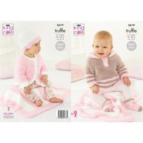 Blanket, Cardigan, Top, Hat and Socks in King Cole Truffle (5619)