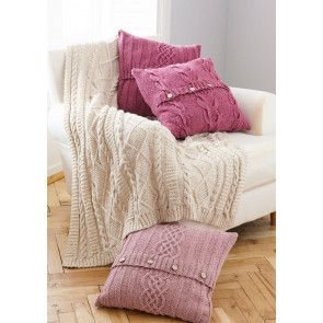 Throw and Cushions in King Cole Forest Aran (5660)