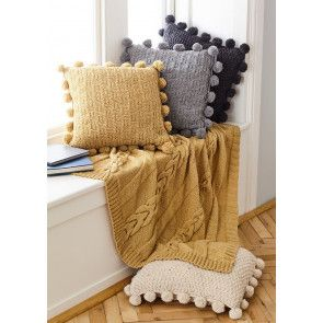 Throw and Cushions in King Cole Forest Aran (5661)