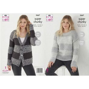 Sweater and Cardigan in King Cole Timeless Classic Super Chunky (5667)