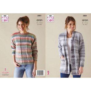 Cardigan and Sweater in King Cole Acorn Aran (5801)