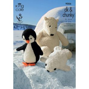 Penguin, Polar Bear and Seal Toys in King Cole Pricewise DK and Cuddles Chunky (9006)