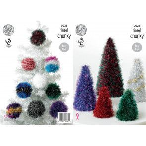 Christmas Trees and Baubles in King Cole Tinsel Chunky (9035)