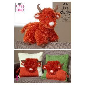 Highland Cow and Cushion Cover in King Cole Tinsel Chunky, Big Value Chunky and Dollymix (9089)