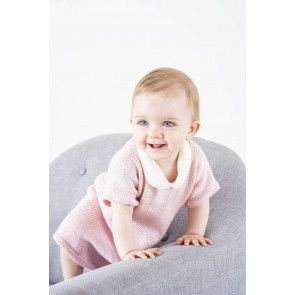 Baby girls knitted dress in pink with a white collar
