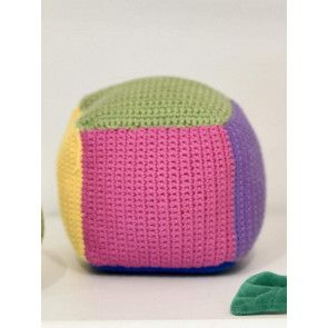 simple crochet cube toy in multi colours