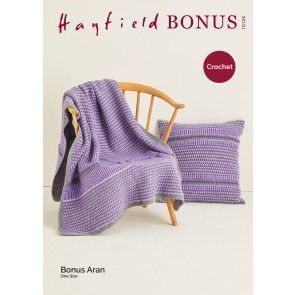 Blanket and Cushion in Hayfield Bonus Aran (10123)