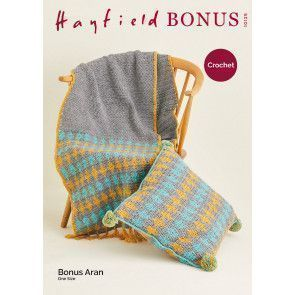 Runner and Cushion in Hayfield Bonus Aran (10125)