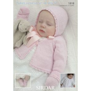 Cardigans, Bonnet, Mittens and Bootees in Sirdar Snuggly 4 Ply (1818)