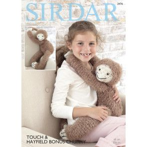 Gordon The Sloth Toy in Sirdar Touch and Hayfield Bonus Chunky (2476)
