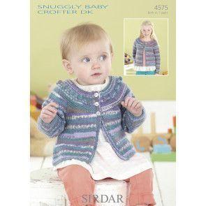 Round Neck Cardigan in Sirdar Snuggly Baby Crofter DK (4575)