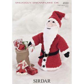 Cone Shaped Santa in Sirdar Snuggly Snowflake DK and Hayfield Bonus DK (4593)