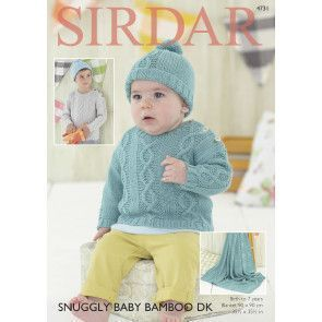 Sweater, Hat and Blanket in Sirdar Snuggly Baby Bamboo DK (4731)