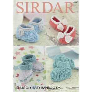 Bootees and Shoes in Sirdar Snuggly Baby Bamboo DK (4734)