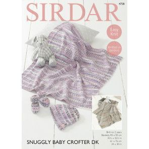 Blanket, Bootees and Bonnet in Sirdar Snuggly Baby Crofter DK (4758)
