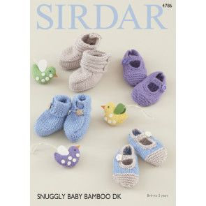Bootees and Shoes in Sirdar Snuggly Baby Bamboo DK (4786)