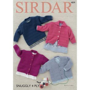 Cardigans and Sweater in Sirdar Snuggly 4 Ply (4809)