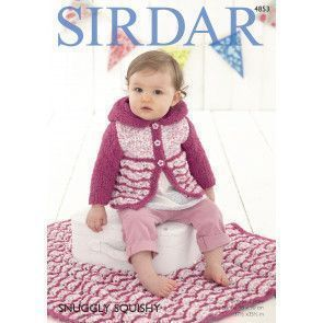 Baby Girl's Hooded Coat and Blanket in Sirdar Snuggly Squishy and Sirdar Snuggly Snowflake Chunky (4853)