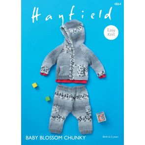 Hooded Jacket and Trousers in Hayfield Baby Blossom Chunky (4864)
