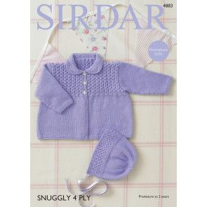Coat and Bonnet in Sirdar Snuggly 4 Ply (4883)