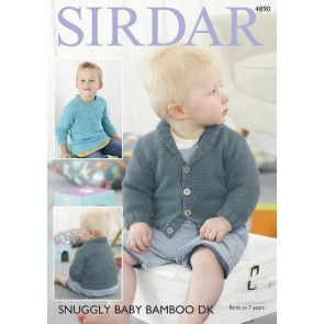 Sweater and Cardigan in Sirdar Snuggly Baby Bamboo Dk (4890)