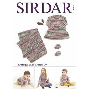 Dress, Bootee's and Blanket in Sirdar Snuggly Baby Crofter DK (5150)