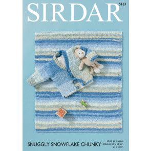 Baby Boy's Cardigan and Blanket in Sirdar Snuggly Snowflake Chunky (5163)