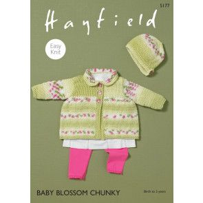 Matinee Coat and Bonnet in Hayfield Baby Blossom Chunky (5177)