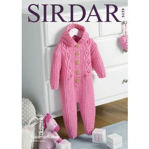 Hooded All-in-One Sirdar Supersoft Aran (5239)