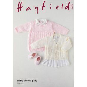 Dress and Cardigan in Hayfield Baby Bonus 4 Ply (5357)