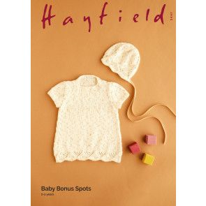 Dress and Bonnet in Hayfield Baby Bonus Spots (5447)