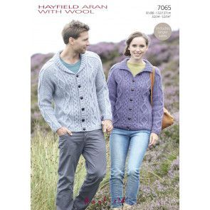Flat Collar and Shawl Collar Cardigans in Hayfield Aran with Wool (7065)